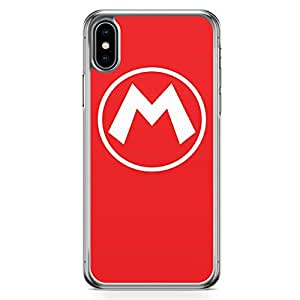 Loud Universe Super Mario Logo iPhone XS Case Red Mario brothers iPhone XS Cover with Transparent Edges