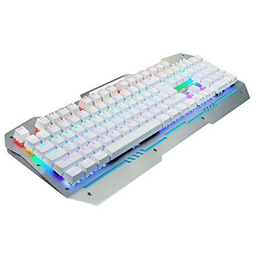 AULA Reaper Mechanical Gaming Keyboard with Black Switches,Rainbow LED backlight,104 Keys Anti-ghosting (Silver (Saitek Backlit Keyboard)