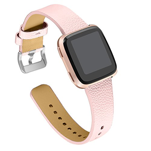 bayite Leather Bands Compatible with Fitbit Versa, Slim Wristband Replacement Accessories Fitness Classic Straps Women Men, Pink ()