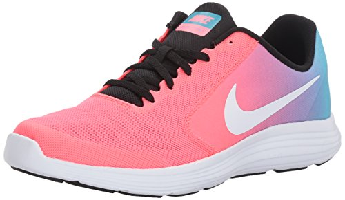 NIKE Girls' Revolution 3 Running Shoe (GS), Chlorine Blue/White/Racer Pink/Black, 6 M US Big