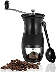 Manual Coffee Grinder, Manual Coffee Mill Grinder with Ceramic Burrs for Fresh Coffee Stainless Steel Handle and Silicone Cover,Hand Bean Mill for Home Travel