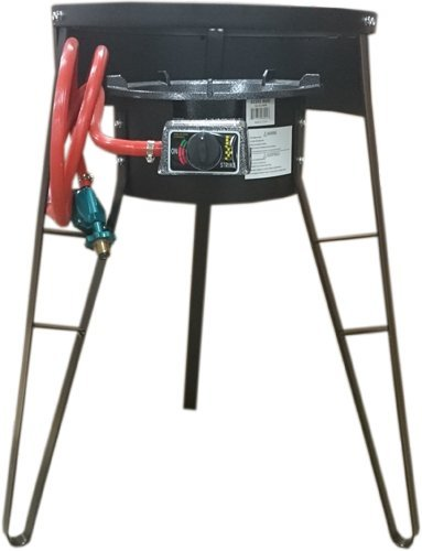 Bioexcel Outdoor Gas Burner - Heavy Duty Portable 30-55K BTU with High Pressure Regulator & Electric Strike 32 & 28 inch Tripod Stand for Stove