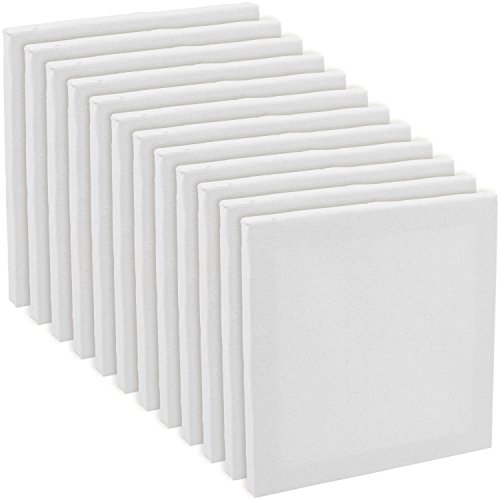 US Art Supply 5'' x 5'' Mini Professional Primed Stretched Canvas (1-Pack of 12-Mini Canvases) by US Art Supply
