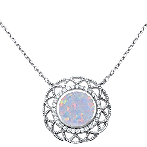 Sterling Silver Fine Filigree Lab Created White Opal Pendant 18""