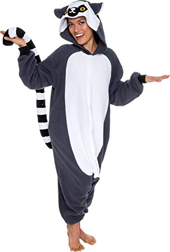 Silver Lilly Unisex Adult Pajamas - Plush One Piece Cosplay Lemur Animal Costume (Gray/White, X-Large)]()