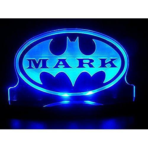 Awesome Personalized Custom Name Batman Super Hero LED Table Lamp Night Light Kids  Room Game Room