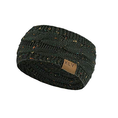 Jiusike Women Knit Elastic Sport Hair Band Soft Stretch Dotted Yarn Turban Hat Army Green