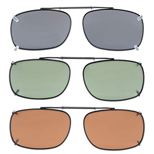 (Eyekepper Grey/Brown/G15 Lens 3-pack Clip-on Polarized Sunglasses 2 3/16