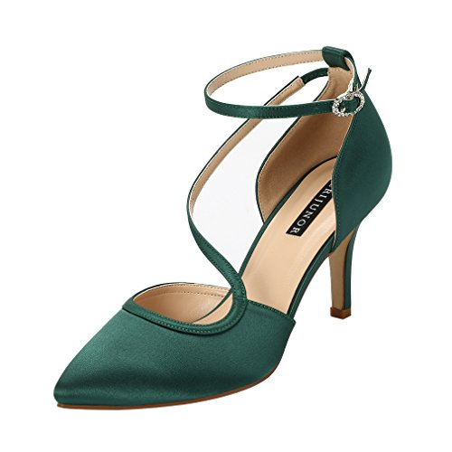 ERIJUNOR Women E1706 Low Heel Pointed Toe Ankle Strap Satin Wedding Evening Party Shoes Dark Green Size 8