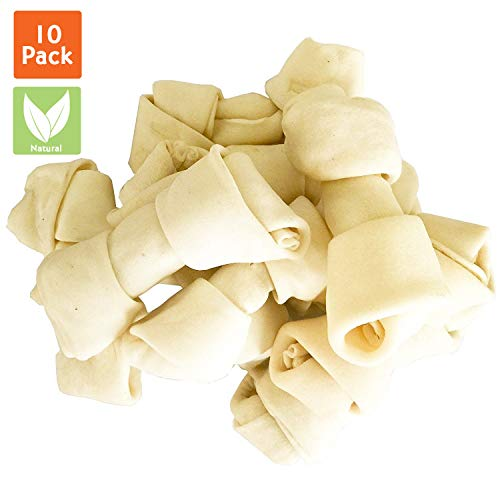 Pet Magasin Natural Rawhide Bones Chewing Dog Treats, 10-Pack, 4-5 Inches
