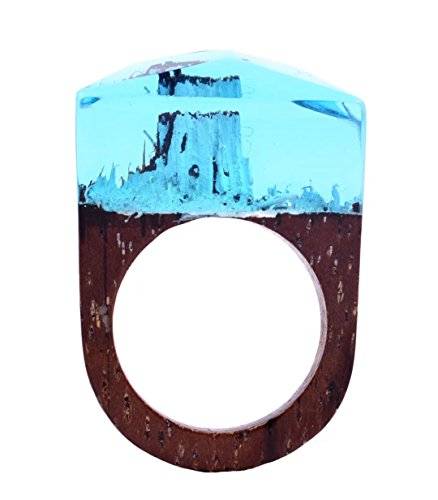 Handmade Wood Resin Ring With Alaska Snow Landscape Inside Jewelry by Heyou Love