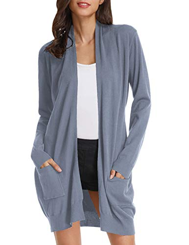 GRACE KARIN Womens Light Weight Long Sleeve Open Front Long Cardigan(M,Grey Blue)