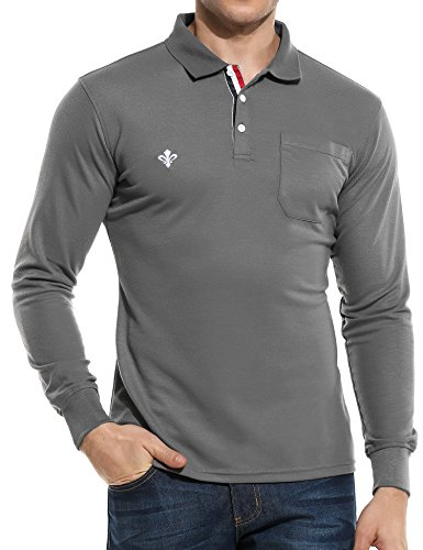 Mens Pullover Sleeve Long - Men Casual Long Sleeve Solid Fashion Slim Pullover Polo Shirts, X-Large, Gray