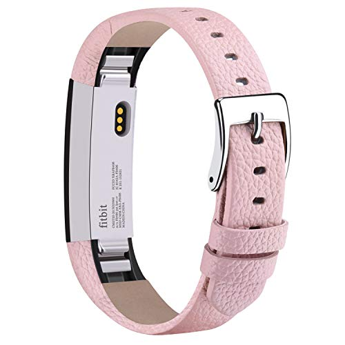Vancle Compatible with for Fitbit Alta Bands Leather, Adjustable Replacement Accessories Fitbit Alta HR Bands for Women Men (4. Pink)