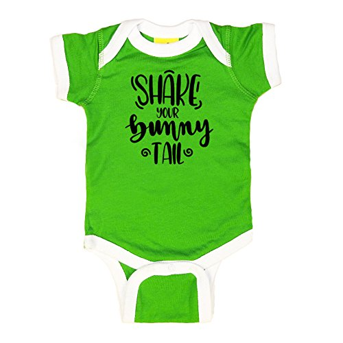 Mashed Clothing Unisex-Baby - Shake Your Bunny Tail (Text Only) Easter - Ringer Baby Bodysuit (Apple/White, 12 Months) - Tail Ringer