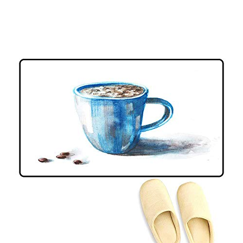 Floor Mat Pattern Coffee Cup painte wi Watercolors on White backgroun