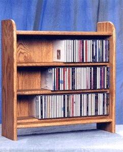 Solid Oak 3 Shelf CD Cabinet (Atlantic Oak Rack)