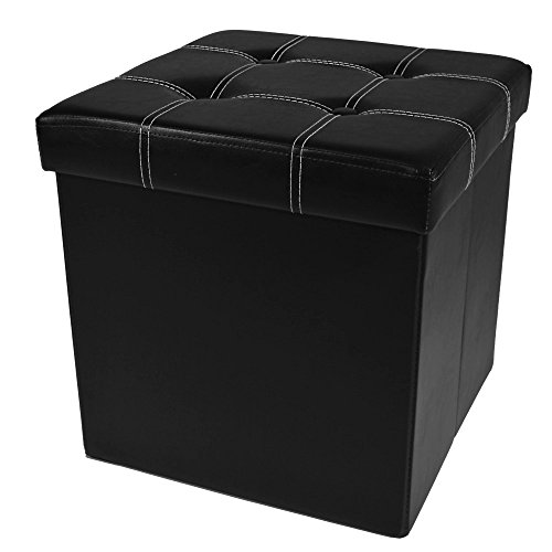 Achim Home Furnishings Collapsible Tufted Storage Ottoman, 15 x 15 x 15 , Black Leather