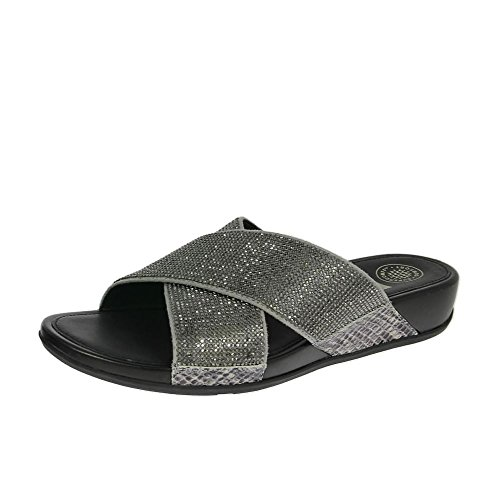 Aix Crystal Crossover Slide - Pewter Pewter