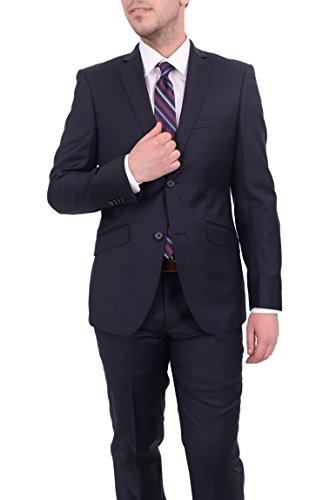 6f9d25e7 The Suit Depot Ideal Slim Fit Solid Navy Blue Two Button Super 150s Wool  Suit