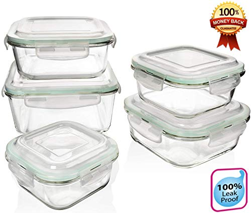 (Extra Large & Assorted sizes Glass Food Storage Containers with Airtight Lids 10 Pc [5 containers with lids] Microwave/Oven/Freezer & Dishwasher Safe. BPA/PVC Free. Reusable Square container set)