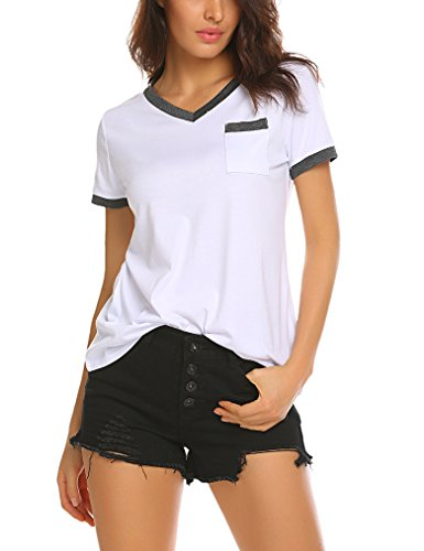 Queensheero Womens Casual Summer Short Sleeve Ringer Tee Office Work T-Shirt Tops M White