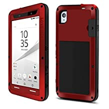 Sony Z5 Compact case,Feitenn Water resistant Rainproof Shockproof Dust/Dirt/Snow Proof Gorilla Glass Aluminum Metal Military Heavy duty Protection Case For Sony Z5 Compact Outdoor sport use (Red)