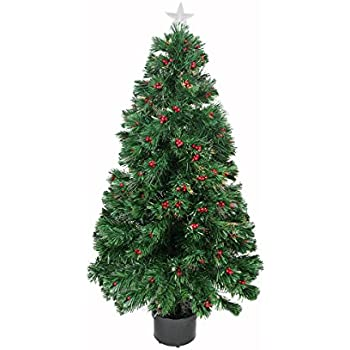 Northlight Pre Lit Color Changing Fiber Optic Christmas Tree With Red  Berries, 3u0027