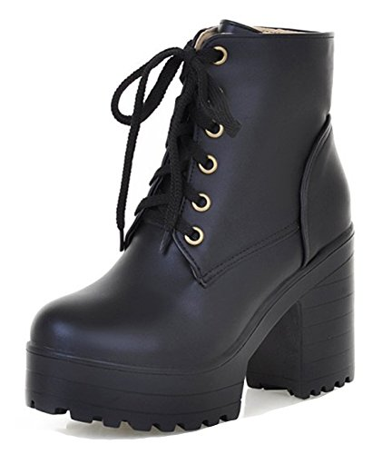 Aisun Womens Casual Stylish Lace Up Thick Sole Round Toe Platform Short Boots High Block Heel Ankle Booties Black JXxmHe