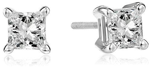 IGI Certified 14k White Gold Princess Diamond Studs (1 cttw, H-I Color, I1 Clarity)