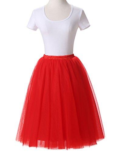 Mitchell Women's Tulle Tutu Ballet Multi-Layer Ruffle Crinoline Petticoat Underskirts Skirt Red S (Womens Red Tutu Skirt)