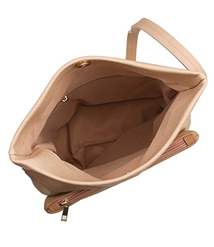 SIX Basic mitelgroße beige Damen Handtasche in Wildleder Optik mit Reißverschluß und magnetischem Druckknopf Umhängetasche Schultertasche (463-875)