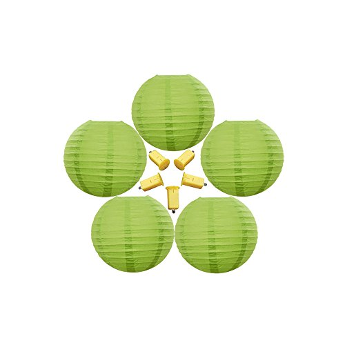 Neo LOONS 5 Pack 6 Inch Lime Green Round Chinese/Japanese Paper Lanterns Metal Framed Hanging Lanterns with LED Lights --- For Home Decor, Parties, Weddings and DIY (Green Lime Lamp)