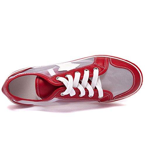 Mesh Rouge Respirante Chaussures 40 Été Semelle Compensée Femme Casuel 41 42 Taille Printemps Lacets Ssrsh Baskets 43 qTIwzanp