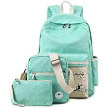 Back to School 3 in 1 Canvas Backpack by AIQI, Casual College Rucksack for Teen Girls and Boys
