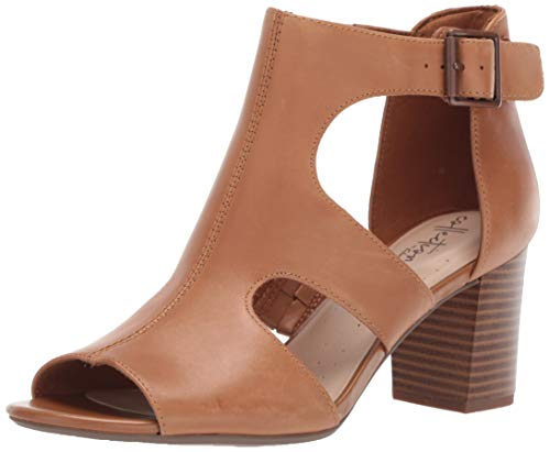 CLARKS Women's Deva Heidi Heeled Sandal tan Leather 070 M US