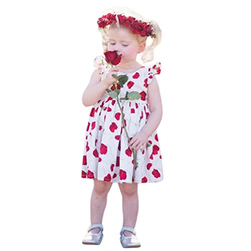 Corsion Baby Girls Infant Kids Rose Backless Dress Clothes Sundress Casual Dresses (Old Fashioned Girl Dresses)