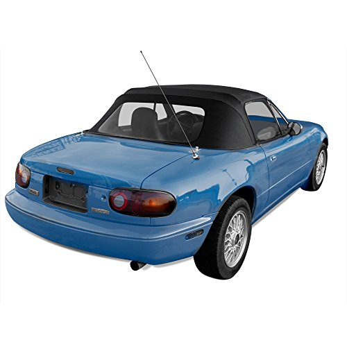 Mazda Miata, 1990-2005 Cabrio Vinyl Complete Convertible Top Replacement with Clear Plastic Window, Black