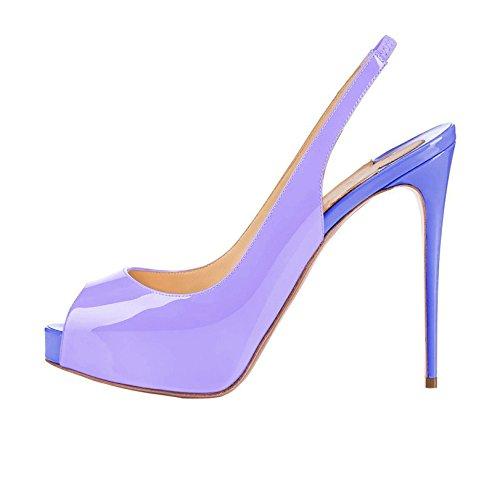 Arc-en-Ciel plataforma de los zapatos peep toe de tacón alto sandalias ligeras de espalda de la mujer púrpura