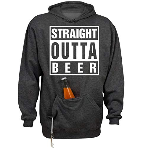 FUNNYSHIRTS.ORG Straight Outta Beer: Unisex Beer Holder Tailgate Hoodie Charcoal Heather ()
