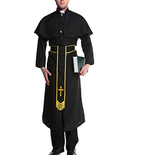 [Papaya Wear Men Missionary Costume Adult Priest Robe Halloween Costume Black2 M] (Priest Halloween Costumes)