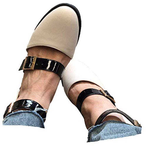 Fainosmny Fashion Womens Pumps Low-Heeled Ankle Buckle Strap Shoes Casual Single Shoes Summer Roman Sandals Single Shoes White