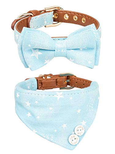 Gyapet Collar for Cat Small Dog Bandana Bowtie Puppy Kitten 2 Packs Adjustable Scarf Cute Camo Stars-Blue ()