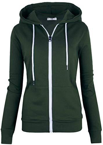 MAJECLO Women's Casual Full-Zip Hooded Lightweight Long Sleeve Sweatshirt(Medium, Green)