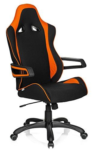 hjh OFFICE RACER PRO II - Silla gaming o de oficina, tejido negro y naranja