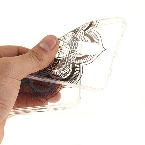 Funda Xiaomi Redmi Note 4, E-Lush Suave Silicona TPU Carcasa Ultra Delgado Clear Flexible Gel Parachoques Goma Mate Transparente Case Cover Flor del impresión Bumper Premium y Creativo Carcasa Trasera Negro Mandala