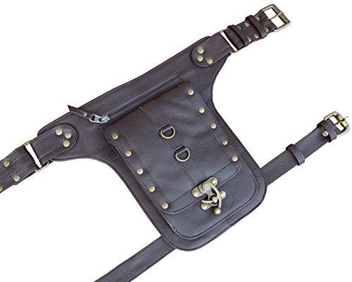 Steampunk Leather Holster Cosplay Thigh Bag with Swing Lock from One Leaf (Brown) by One Leaf