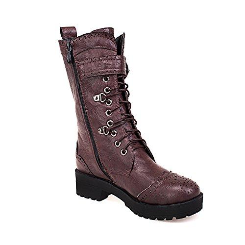 Shoen Tale Womens Tacco Tacco Grosso Stivali Da Equitazione Scarpe Stringate Femminili Stivali Alti Al Ginocchio Marrone