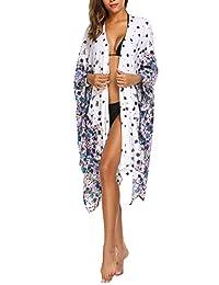 Zeagoo Womens Loose Kimono Maxi Cardigan Beach Dress Bikini Cover Up One Size