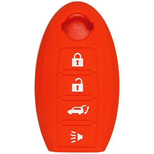 QualityKeylessPlus RED Rubber Case Silicone Protective Cover for Nissan 4 Button Remotes with Free KEYTAG